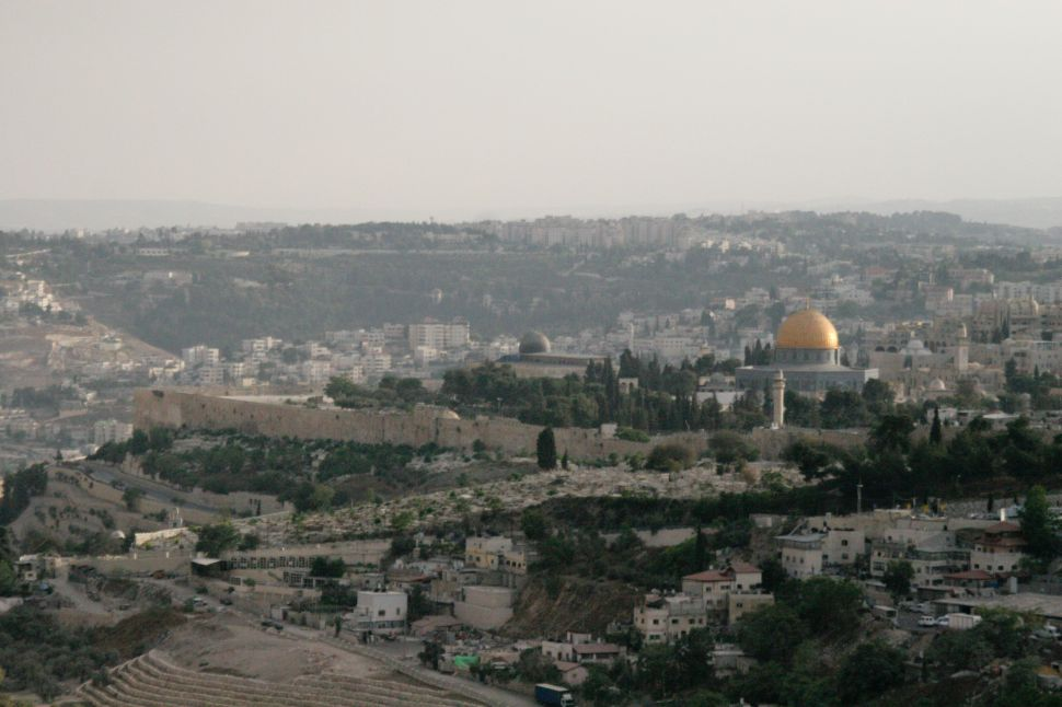 The view of the Old City of Jerusalem from Mount Scopus.