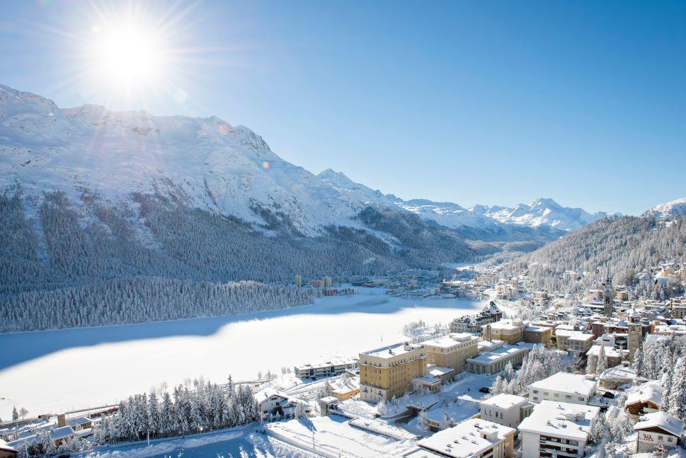 The Kulm Hotel overlooking a frozen Lake St. Moritz.