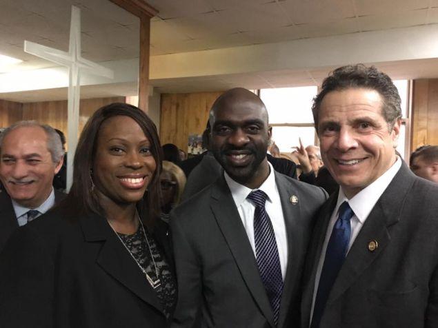 Bronx Councilwoman Vanessa Gibson, Bronx Assemblyman Michael Blake and Gov. Andrew Cuomo.
