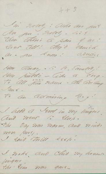 Emily Dickinson (1830-1886). I'm Nobody! Who are you? Poem, ca. late 1861.