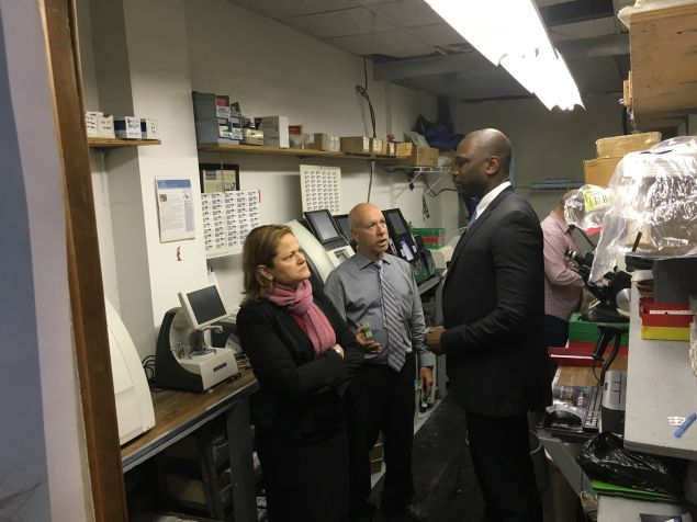 Small Business Services Commissioner Gregg Bishop and City Council Speaker Melissa Mark-Viverito visiting a small business in East Harlem.