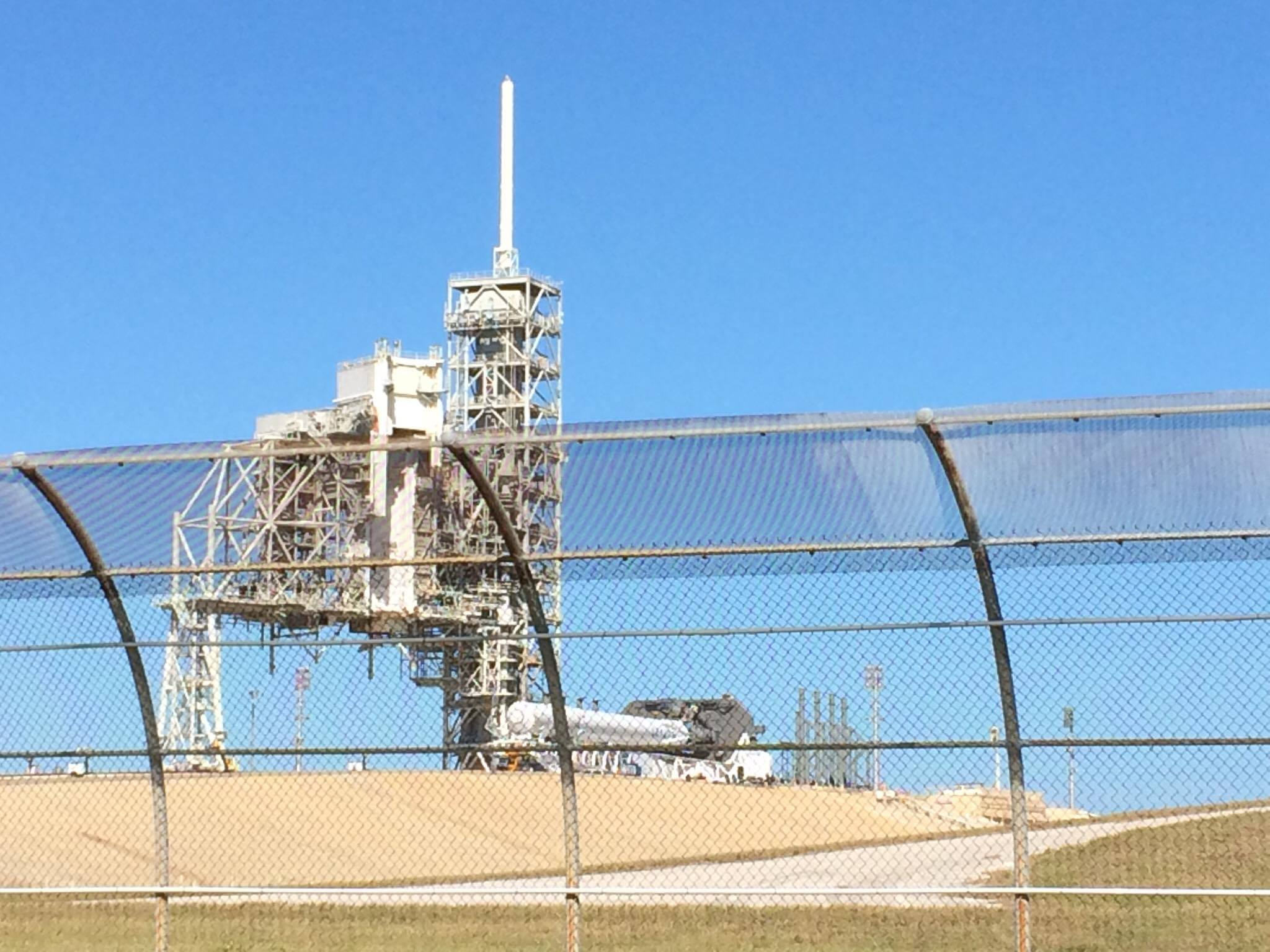 The SpaceX Falcon 9 awaiting a static-fire test at Kennedy Space Center Launch Complex 39A