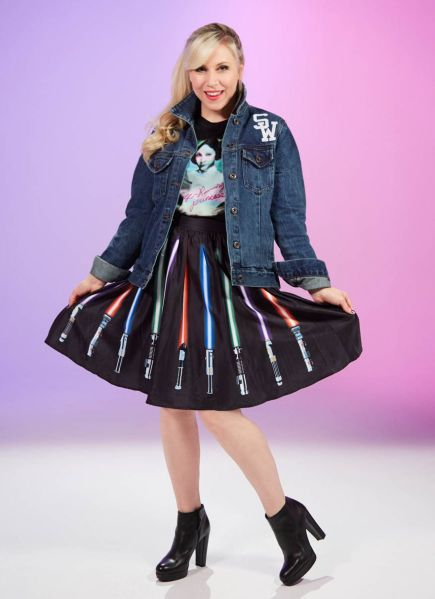 "Wear the fashion of the Force with the Star Wars ""May The Force Be With You"" denim jacket, Self-Rescuing Princess Tee and Lightsaber Skirt."