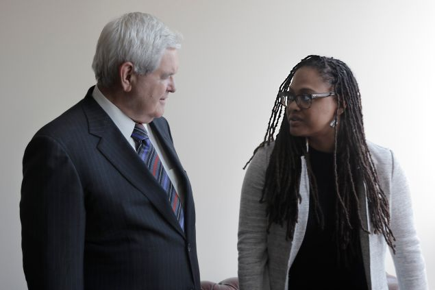Newt Gingrich and Ava DuVernay behind-the-scenes of 13th.