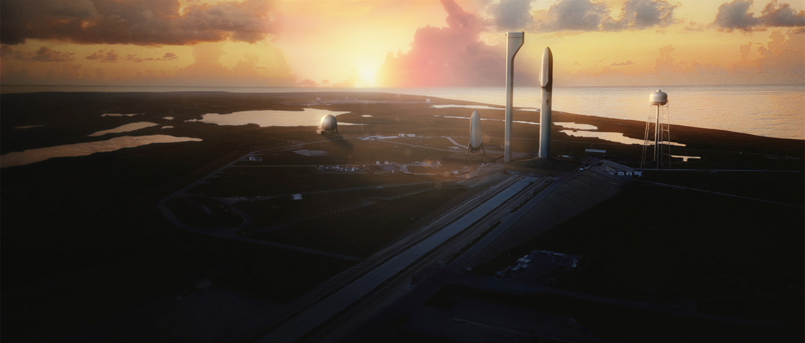Concept of SpaceX's Interplanetary Transport System at Launch Complex 39A.