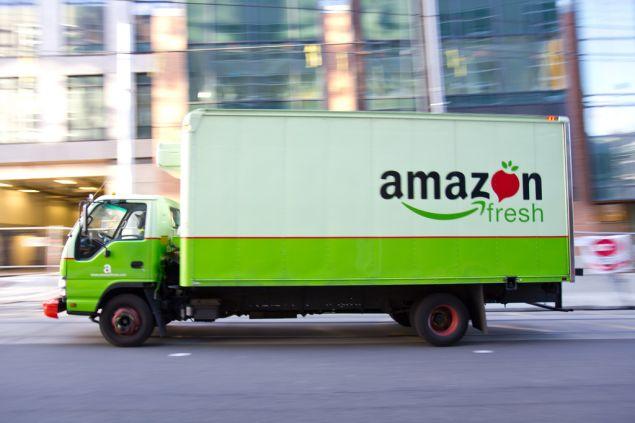 An Amazon Fresh truck.