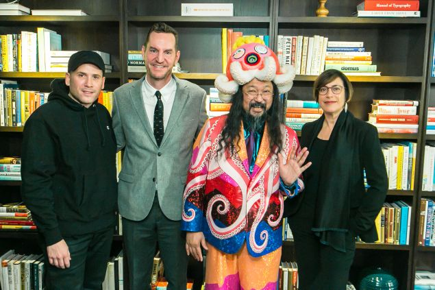 Marc Ecko, MCA Chief Curator Michael Darling, Takashi Murakami, and MCA Director Madeleine Grynsztejn.