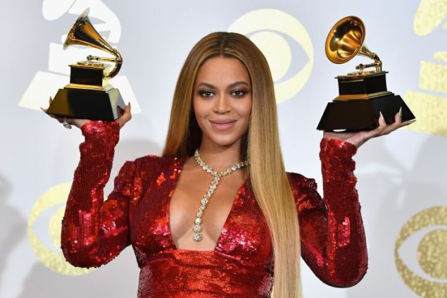 Beyonce at the 59th Grammy Awards.
