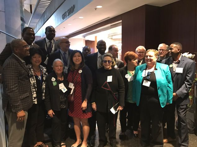 Queens Congresswoman Grace Meng and Bronx Assemblyman Michael Blake at the Democratic National Committee meeting in Atlanta.