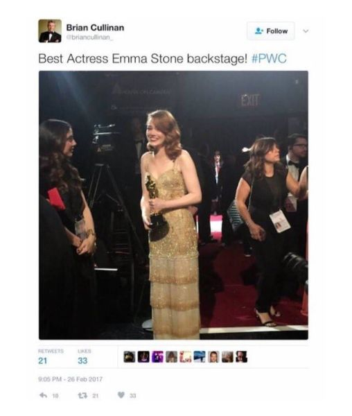 Cullinan tweeted and then deleted this picture of Emma Stone.