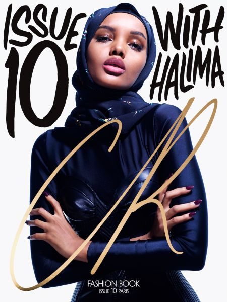 Halima Aden in a Louis Vuitton dress and scarf.