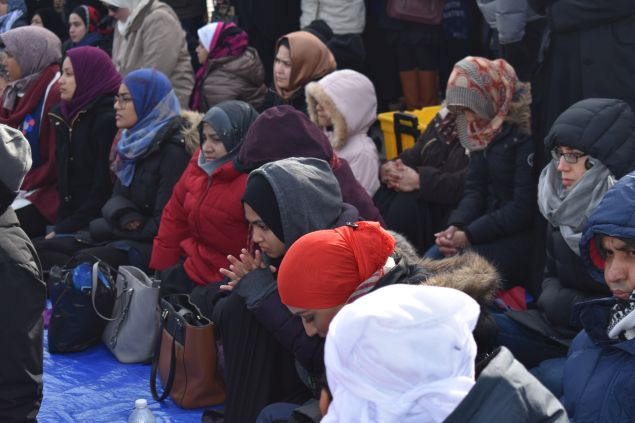 Muslim women at the interfaith action and prayer at John F. Kennedy International Airport today.