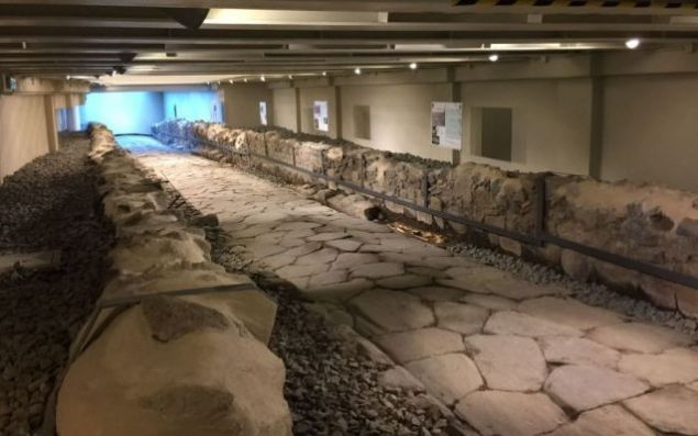A 2,000-year-old stretch of Roman Road, which connects to the famous Appian Way, is accessible to restaurant-goers at Rome's Frattocchie McDonald's.