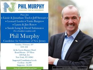 You can meet Phil Murphy at the Loews Regency, which is owned by one of the hosts, Jonathan Tisch—but it'll cost you at least a grand.