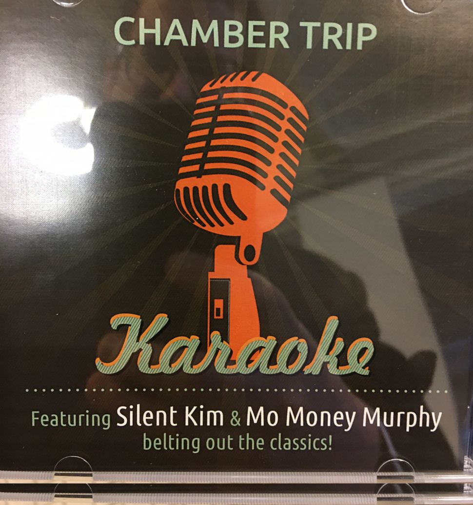 Jack Ciattarelli is handing out this CD box to travelers on the Chamber Train.