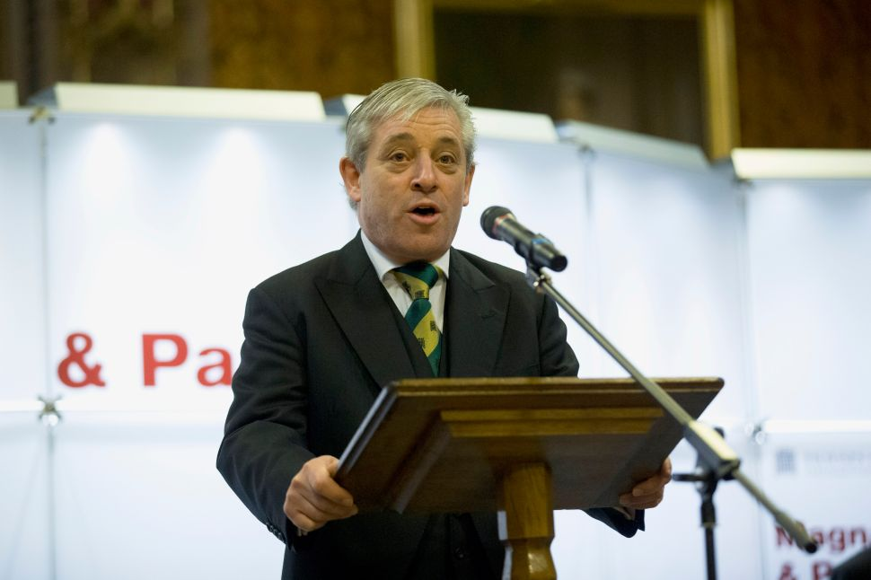 "LONDON, UNITED KINGDOM - FEBRUARY 05: John Bercow, the Speaker of the House of Commons, makes an address during the opening ceremony for the four surviving original parchment engrossments of the 1215 Magna Carta going on display to mark the 800th anniversary of the sealing of Magna Carta at Runnymede in 1215, at the Houses of Parliament on February 5, 2015 in London, United Kingdom. The four original copies of the charter have been put on display together for one day on Thursday for the opening of the exhibition ""Magna Carta and Parliament"" which runs during February. The Magna Carta established the timeless principle that no individual, even a monarch, is above the law. In 1215, 40 rebellious barons came together to declare their rights to King John, and he reluctantly consented to their demands in an attempt to avoid civil war."