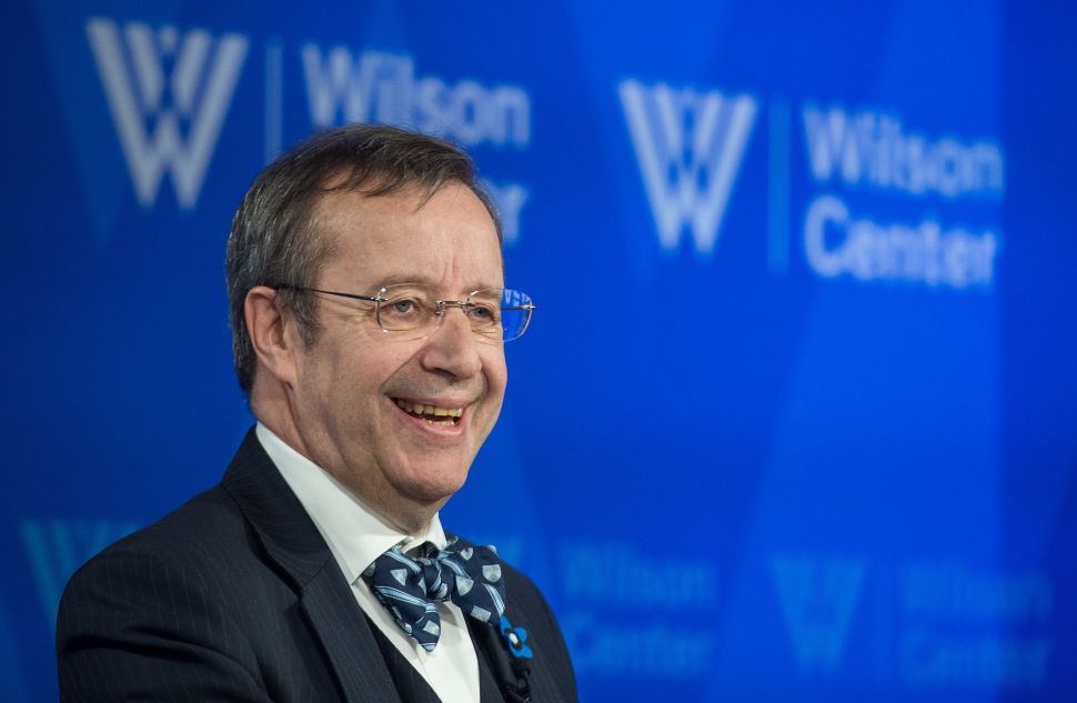 """Estonian President Toomas Ilves speaks at a talk entitled """"The Estonia Model: Why a Free and Secure Internet Matter """"at the Wilson Center in Washington, DC, on April 21, 2015. AFP PHOTO/NICHOLAS KAMM (Photo credit should read"""