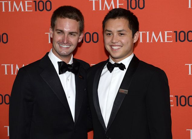 Snapchat co-founders Evan Spiegel and Bobby Murphy attends the Time 100 Gala, April 29, 2014 in New York.