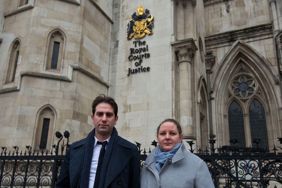 Charles Keidan and Rebecca Steinfeld depart the High Court.