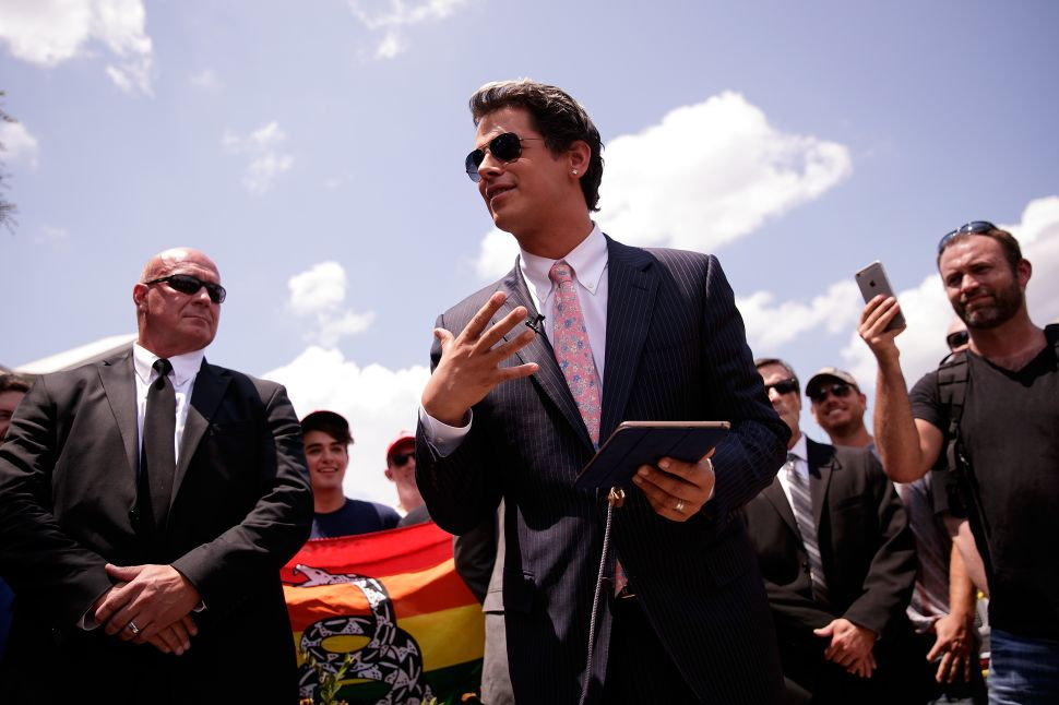 ORLANDO, FL - JUNE 15: Milo Yiannopoulos, a conservative columnist and internet personality, holds a press conference down the street from the Pulse Nightclub, June 15, 2016 in Orlando, Florida. Yiannopoulos was briefly banned from Twitter on Wednesday. The shooting at Pulse Nightclub, which killed 49 people and injured 53, is the worst mass-shooting event in American history.