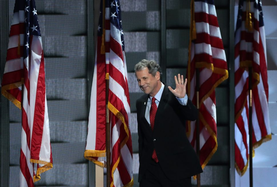 Sen. Sherrod Brown arrives on stage to deliver remarks at the Democratic National Convention in 2016.