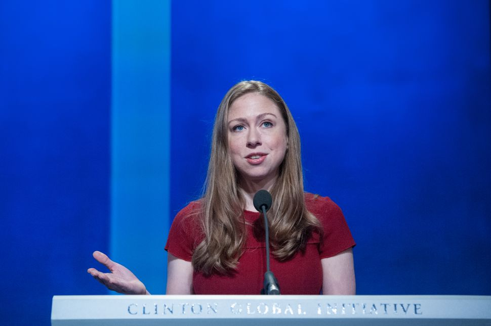 Chelsea Clinton delivers a speech during the annual Clinton Global Initiative.