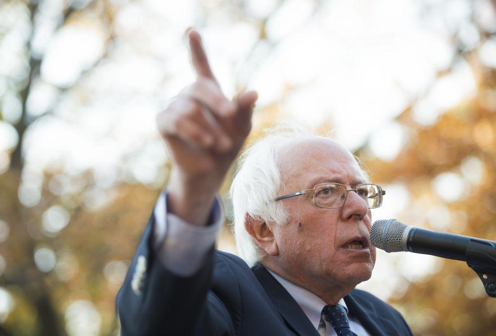 Sen. Bernie Sanders speaks during a rally.