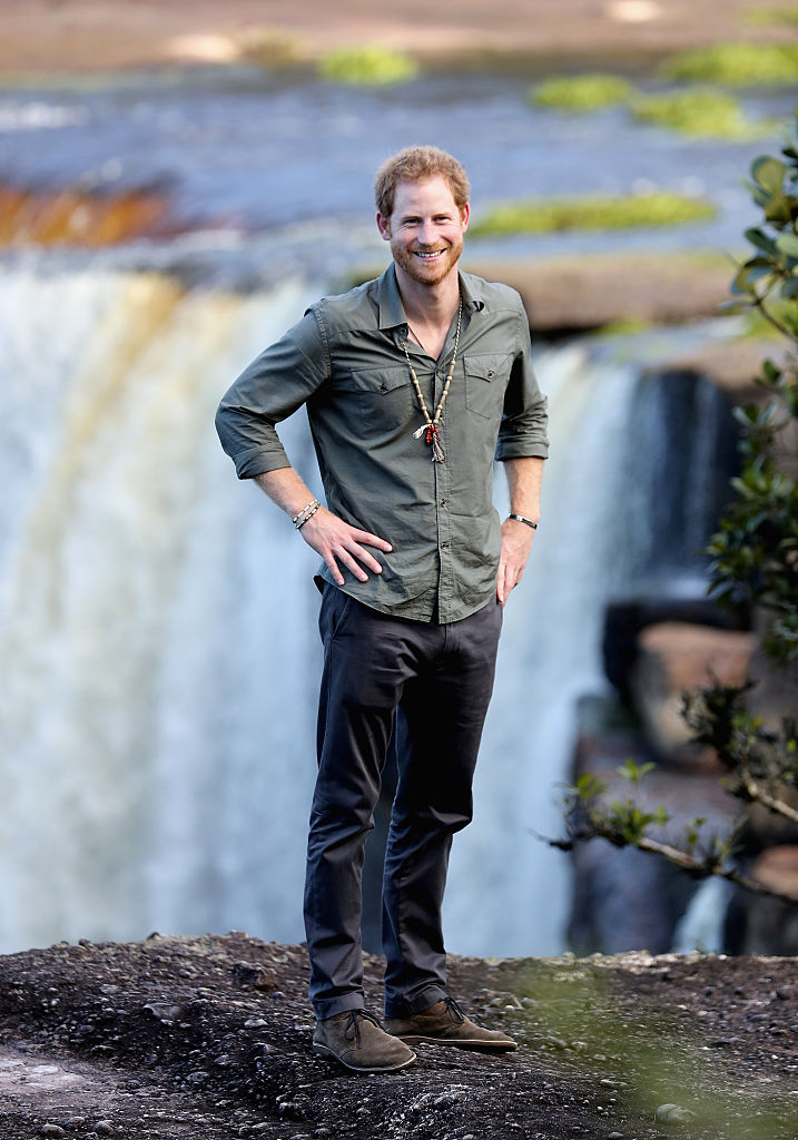 Prince Harry visits the iconic Kaieteur Falls (The single largest Freefall waterfall in the world with a drop of 741 feet) in the Guyana Hinterland on day 13 of an official visit to the Caribbean on December 3, 2016 in Surama, Guyana. Prince Harry's visit to The Caribbean marks the 35th Anniversary of Independence in Antigua and Barbuda and the 50th Anniversary of Independence in Barbados and Guyana. (Photo by Chris Jackson/Getty Images)