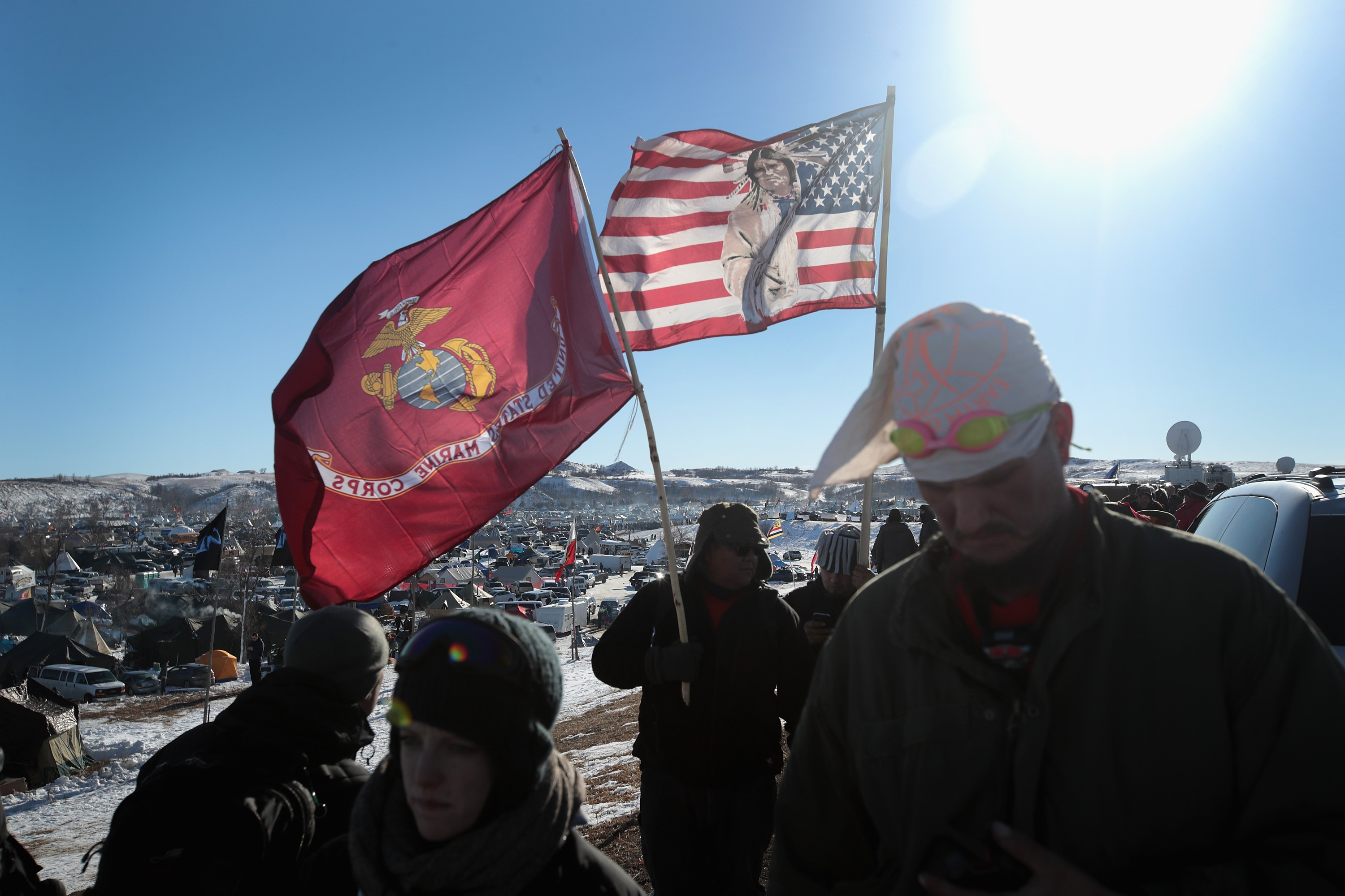 Military veterans arrive to support activists at Oceti Sakowin Camp on the edge of the Standing Rock Sioux Reservation Cannon Ball, North Dakota.