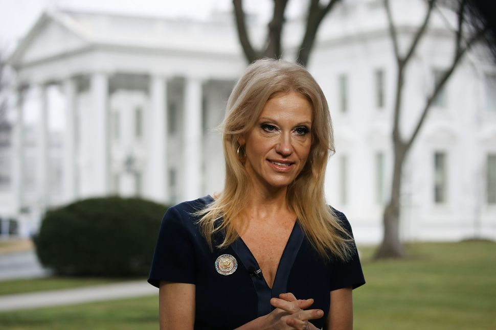 WASHINGTON, DC - JANUARY 22: Counselor to President, Kellyanne Conway, prepares to appear on the Sunday morning show Meet The Press, from the north lawn at the White House, January 22, 2017 in Washington, DC. Conway discussed President Trump's recent visit to the CIA and White House Press Secretary Sean Spicer's first statement.