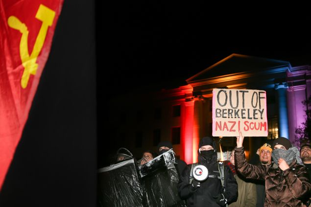 People protest controversial Breitbart writer Milo Yiannopoulos at UC Berkeley on February 1, 2017 in Berkeley, California.