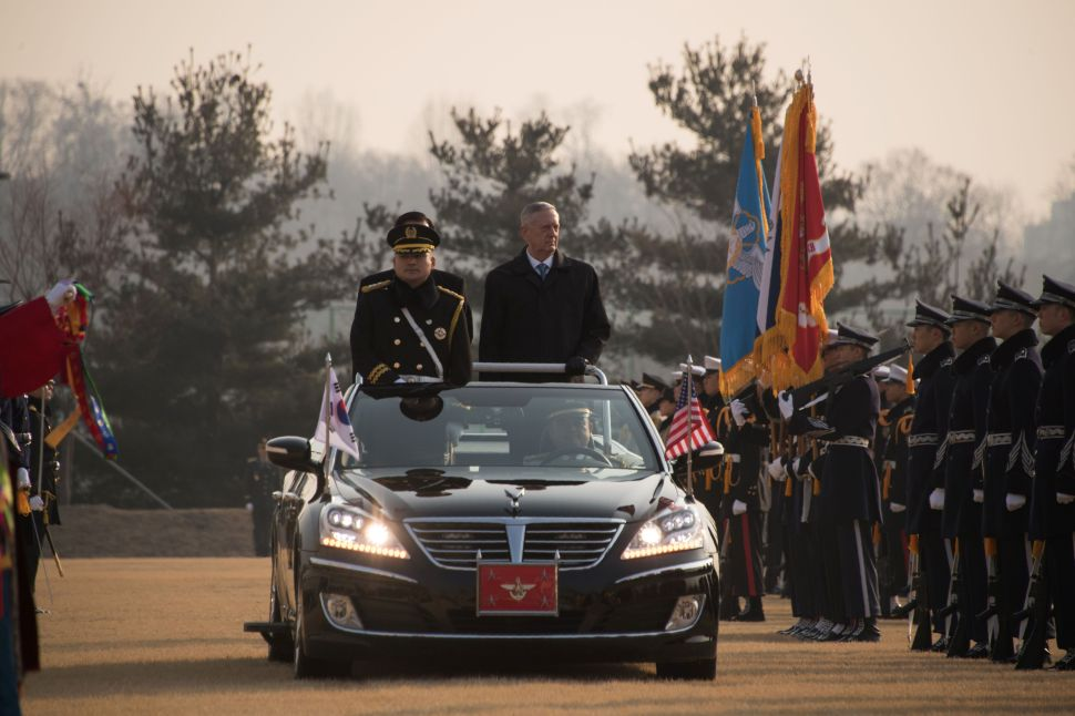US Defense Secretary James Mattis attends an honour guard ceremony with his South Korean counterpart Han Min-Koo at the Defense Ministry in Seoul on February 3, 2017.