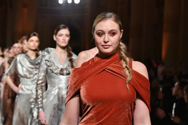 Iskra Lawrence walks in Christian Siriano's show.