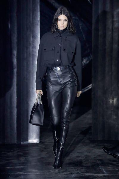Kendall Jenner wears an all-black Alexander Wang look.