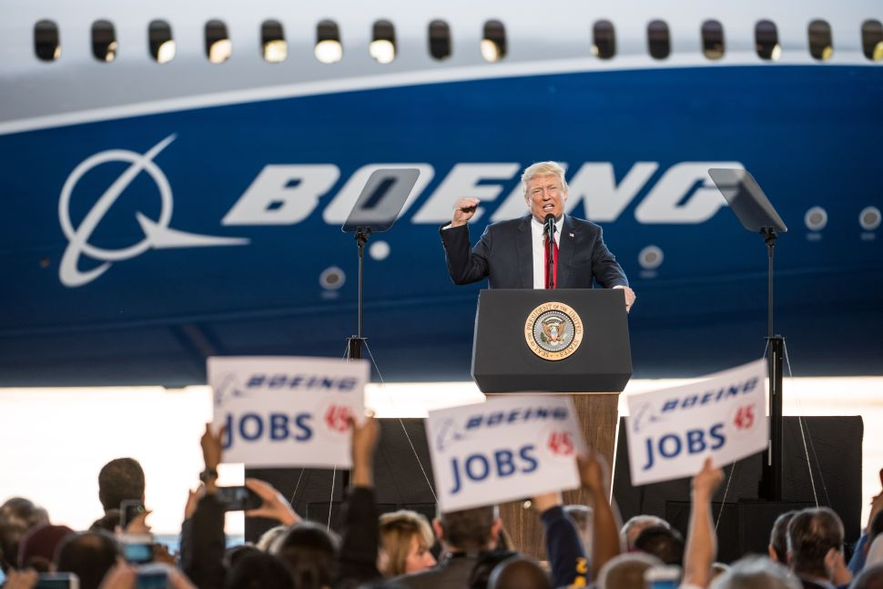 NORTH CHARLESTON, SC - FEBRUARY 17: U.S. President Donald Trump addresses a crowd during the debut event for the Dreamliner 787-10 at Boeing's South Carolina facilities on February 17, 2017 in North Charleston, South Carolina. The airplane begins flight testing later this year and will be delivered to airline customers starting in 2018.