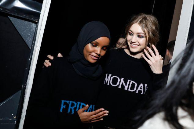 Aden and Gigi Hadid backstage at Alberta Ferretti.