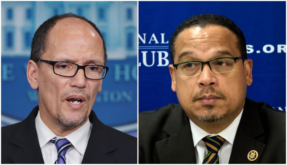 (FILES): These two file photos show then Labor Secretary Thomas Perez (L) speaking to reporters about the minimum wage for federal contractors at the White House in Washington, DC, on Feburary 12, 2014; and Minnesota Democratic Congressman Keith Ellison (R) during a press conference about Islamophobia at the National Press Club on May 24, 2016 in Washington, DC. US Democrats, licking their wounds from last year's election debacle, will pick a new leader on February 25, 2017 to take the fight to President Donald Trump and his Republicans. The race to chair the Democratic National Committee (DNC) features front-runners Tom Perez, a Hispanic-American and former secretary of labor under Barack Obama who is the establishment pick, and Keith Ellison, a black Muslim congressman from the party's progressive wing who has left open the prospect of pushing to impeach Trump. / AFP / Mandel NGAN AND Brendan SMIALOWSKI (Photo credit should read MANDEL NGAN,BRENDAN SMIALOWSKI/AFP/Getty Images)