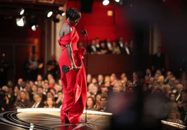 Viola Davis accepting her Oscar in tk.