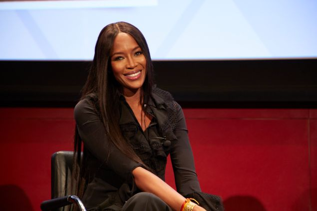 Naomi Campbell speaking to the Hearst master class.