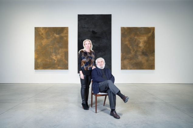 Marianne Boesky and Pier Paolo Calzolari photographed in front of Untitled (Three felts) at Marianne Boesky Gallery on 10 February 2017.