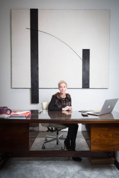 Marianne Boesky phototographed in her office at Marianne Boesky Gallery on 10 February 2017.