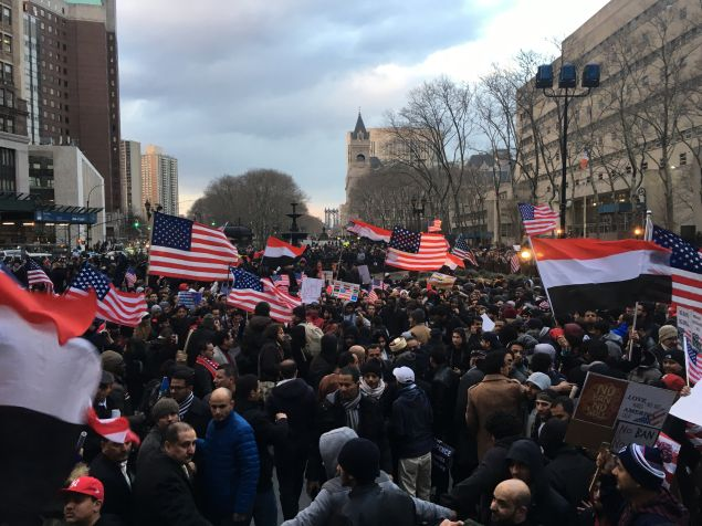 More than 1,000 members of the Yemeni community came out to protest President Donald Trump's Muslim travel ban.