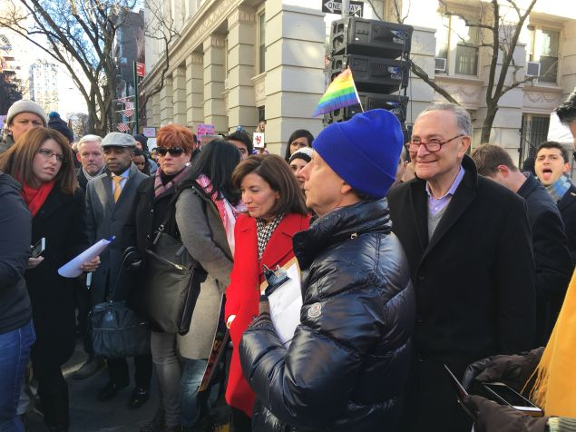 Elected officials and advocates at an LGBT solidarity rally against President Donald Trump's executive orders at the Stonewall National Monument.