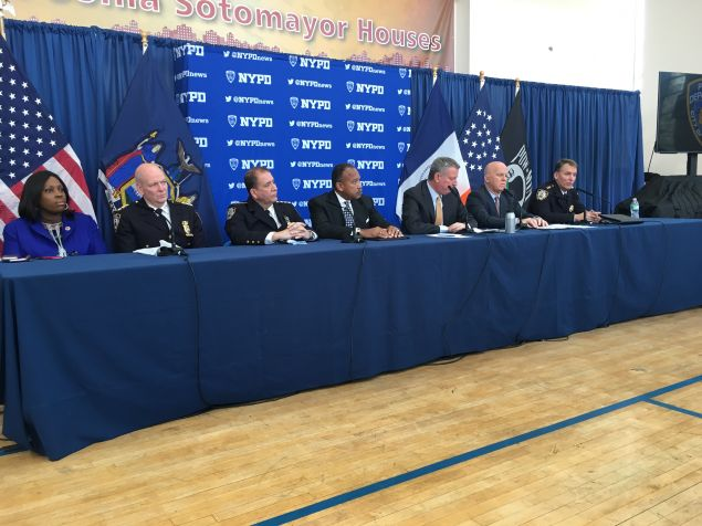 Mayor Bill de Blasio and Police Commissioner James O'Neill shared the city's latest crime statistics at a press conference in the Bronx.