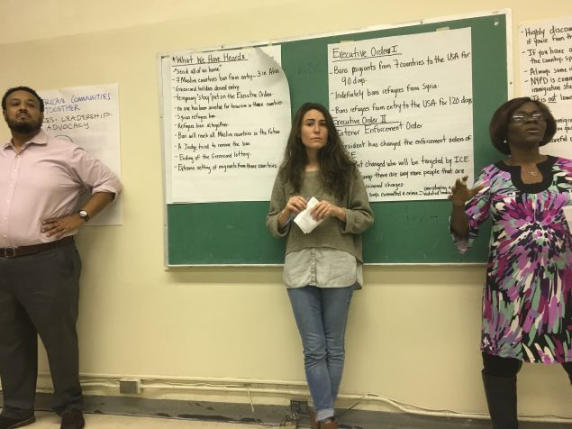 Left to right: Amaha Kass of African Communities Together's founder and executive director; Melanie Zuch of the Urban Justice Center; and Akinde Kodjo-Sanogo, ACT's lead community organizer.