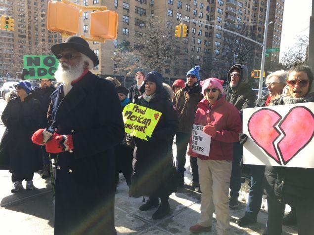 Protesters outside Brooklyn State Senator Jesse Hamilton's office.