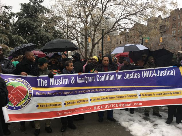 Roughly 200 African Muslims marched in the Bronx in opposition to President Donald Trump's executive orders.