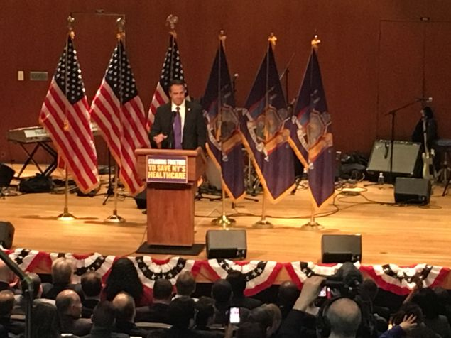 Gov. Andrew Cuomo speaks at 1199SEIU healthcare rally in the Bronx.