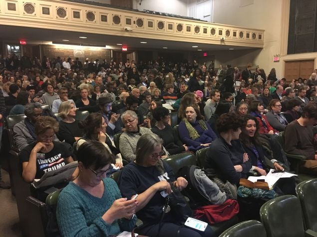 More than 600 people showed up to Brooklyn Congresswoman Yvette Clarke's town hall, including individuals in the overflow room.