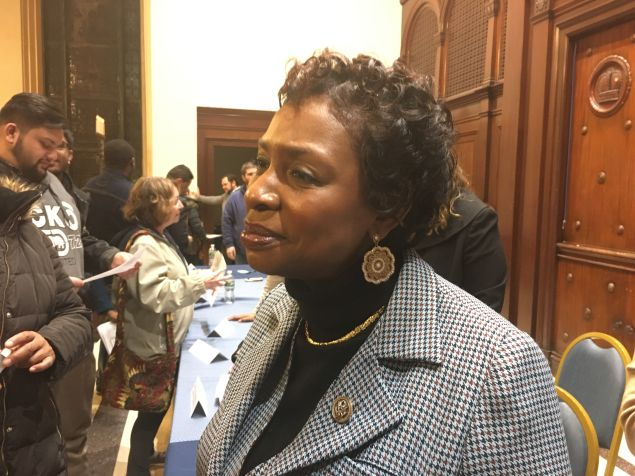 Brooklyn Congresswoman Yvette Clarke speaks to attendees after her town hall on President Donald Trump's first 32 days.